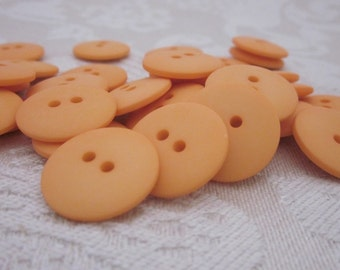 Plain Tangerine Orange Buttons 20mm 24 pieces