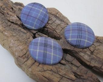 3 Large Lilac Tartan Fabric Buttons