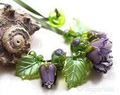 Lampwork by JOPANDA  Roses Purple Romantic Glamour Necklace