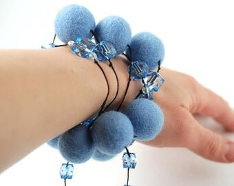 Necklace/ bracelet  made of felted wool beads in blue