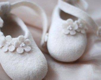 For Little Fairy hand felted  slippers  ballets mary janes baby Christening shoes white with flowers HANDMADE TO ORDER