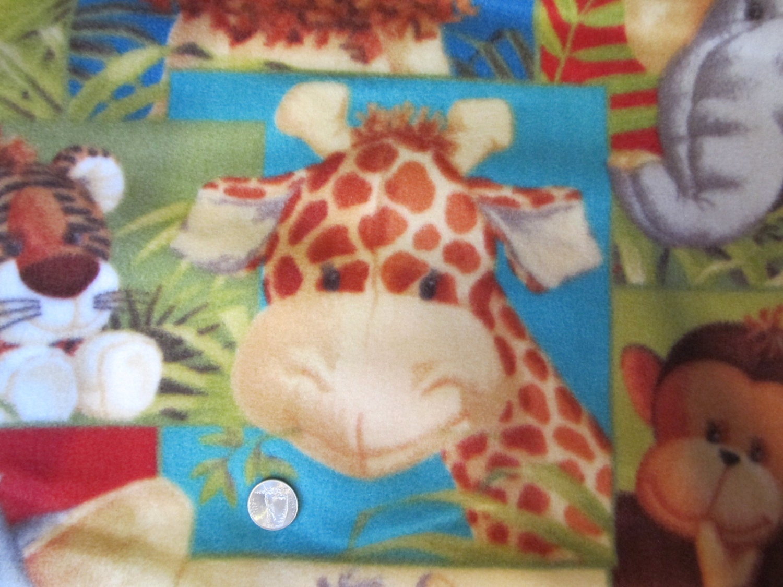 Fleece fabric childrens animal print 2 yards by lubee on etsy for Childrens animal fabric