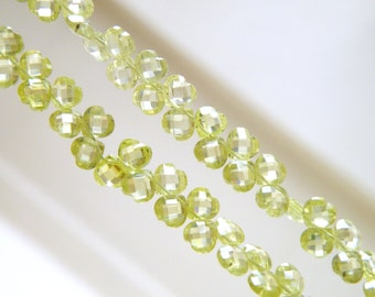Peridot Green Cubic Zirconia CZ Faceted Heart Briolette top Drilled 5mm 31 beads