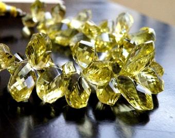 Lemon Quartz Gemstone Briolette Faceted Twist Tear Drop 11 to 12.5mm 9 beads