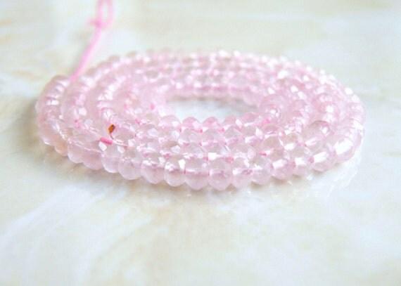 Rose Quartz Gemstone Rondelle Pink Faceted 4mm Full Strand 110 beads