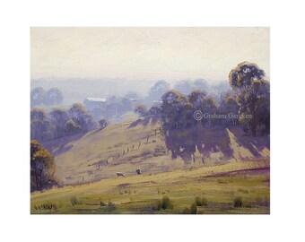 Landscape  Print sheep prints farm prints painting prints  Pastoral Landscape