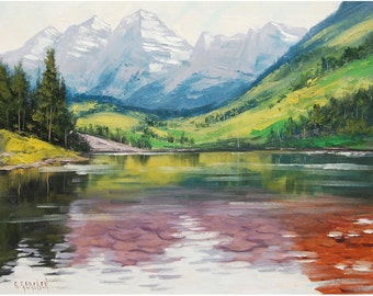 LARGE LANDSCAPE PAINTING Moroon Bells Colorado Painting The Rocky Mountains Landscape Graham Gercken