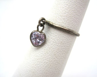 Vintage Ring - Heart Dangle - Sterling Pinkie Ring