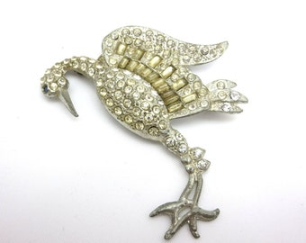 Rhinestone Crane Brooch - Paste Bird Pot Metal Jewelry 1930s
