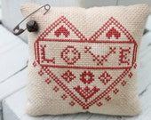 Completed Cross Stitch Quaker Pillow Love Heart Wedding READY to SHIP