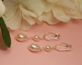 Clip On Pearl Earring, Bridal Earring, Bridesmaid Earring, Clipon Swarovski Elements Pearl Earring, Wedding Earring, The Serenity Earrings