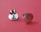 """10mm Surgical Steel Round Earring Pads with 7/16"""" Surgical Steel Posts and Clutches (24 pieces of each)"""