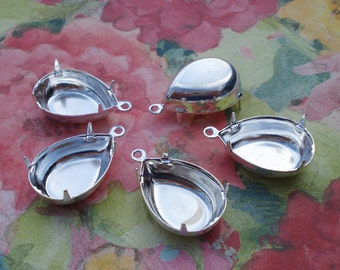 12 Silver Plated 18x13mm Pear/Teardrop 1 Ring/Loop Closed Back Settings for Pointed & Flat Back Cabs or Jewels