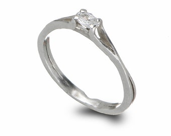 Delicate Engagement Ring, Sterling Silver Solitaire Engagement Ring, Silver and Zircon Ring, Stacking Engagement Ring