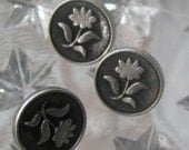 6 Fancy Metal Vintage Look Floral Buttons  7/16 Inch