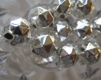 10 Faceted Silver Glass Garland Beads Christmas Garland Beads Czech Republic 10mm 084S