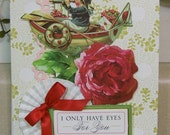 Handmade I Love You Card or Valentine Made with Anna Griffin Design and Supplies Vintage Look Rosette Hearts Rose Boy & Boat