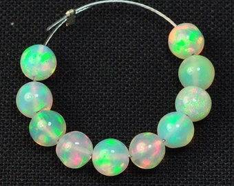 4.8mm Fine Ethiopian Welo Opal Smooth Round Beads (10)
