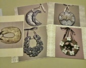 Romantic Ornate Flowers and Horseshoes  5 Postcard Gift Collection No. 1 with Handmade OOAK Creamy White and Silver Rose Pendant