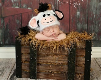 Custom Knit Newborn Cow Hat.