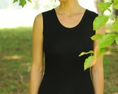HEMP and ORGANIC Cotton Tank, medium weight stretchy fabric with texture in black, made to order