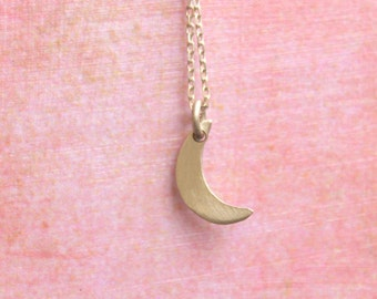 Delicate Moon Necklace Tiny Dainty Crescent Moon Necklace  Sterling Silver Handmade Metalwork