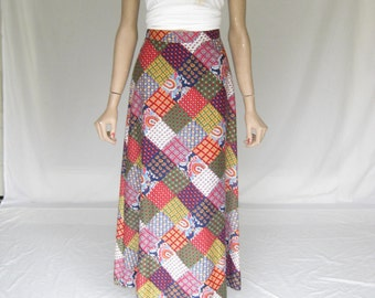 Vintage 70s California Patchwork Maxi Skirt.  X Small