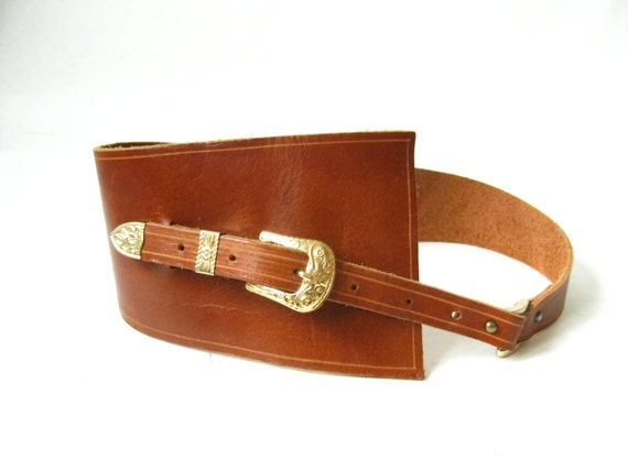 vintage 80s ultra wide brown leather belt by timebombvintage