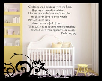 Psalm 127: 3-5 Bible Verse - Vinyl Decal