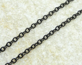 25 Foot Spool Black TierraCast Chain - 4mm x 2.5mm Flat Link Cable Chain - Matte Black Chain for Necklaces and Jewelry   20-0125-13