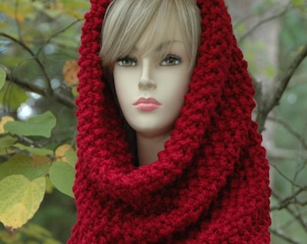 Cranberry Red Knit Infinity Scarf Cowl Hood, Oversized Cowl, Chunky Knit Cowl Scarf, Wool Blend Scarf Cowl, Knitted Hood Cowl, Knitted Cowl