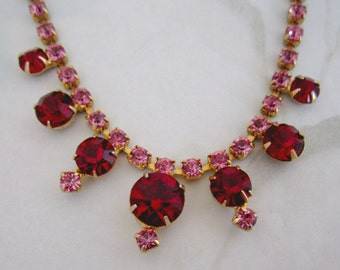 vintage pink and red prong set rhinestone necklace - j5239