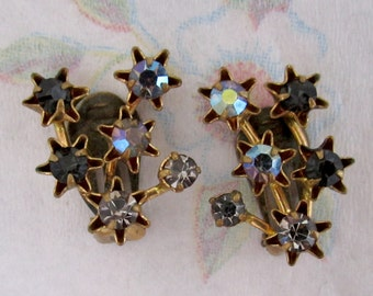 vintage prong set rhinestone shooting star fireworks earrings signed Austria - j5516