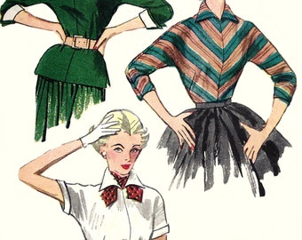 1950s Blouse Pattern Detachable Collar Vintage Sewing Simplicity Scarf Women's Misses Size 12 Bust 30 Inches