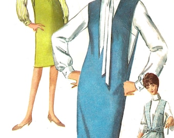 1960s Jumper Pattern Blouse Simplicity Vintage Women's Misses Size 12 Bust 32 Inches
