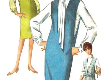 1960s Jumper Pattern Blouse Simplicity Sewing Vintage Women's Misses Size 12 Bust 32 Inches