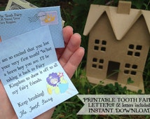 INSTANT - Tooth Fairy Printable Letters - boys - INSTANT DOWNLOAD