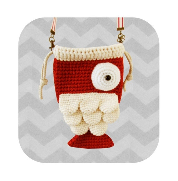 Crochet Crossbody Bag Pattern : Funny little fish crossbody bag - PDF crochet pattern - INSTANT ...