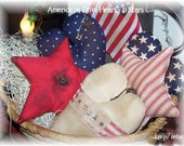 5 Primitive Americana Hearts and Stars Bowl Fillers/tucks 4th of July,Summer decor,Collectibles SCOFG