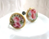 Victorian screw back earrings pink roses hand painted porcelain