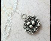 Little Bird Nest Silver Charm Necklace