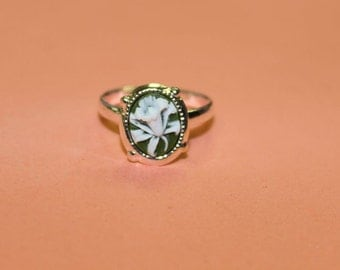 Tiny Sage Green Wildflower Dainty Silver Cameo Ring