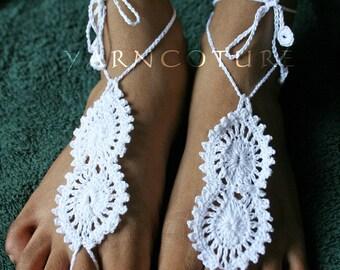 Barefoot Sandals / Aztec LaceDesign - Bridal Sandals/ Beach Sandals