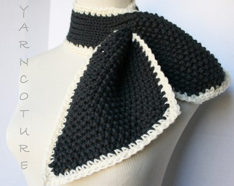 The Vintage Inspired Ascot Necktie - E.Ziyad Inspired Collection / Hand Knit In YOUR Choice Of Fiber