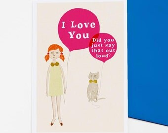 Girl & Cat - greetings / valentine card