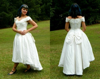Vintage Oleg Cassini White Silk High Low Princess Wedding Dress Off the Shoulder with Bow and Crinoline Size Small