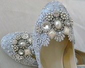 Lilly ...  Blue and Silver Twinkle Toes Wedding Shoes..  Low Heels...Extreme Comfort