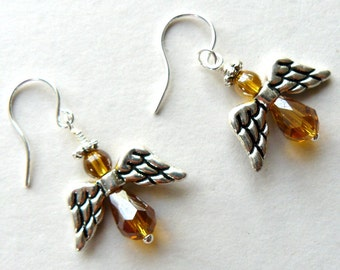 Angel Earrings Amber and Silver Beaded Angel Earrings Spiritual Jewelry Christian Jewelry