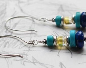 Lantern Kingman Turquoise Earrings with Lapis Earrings