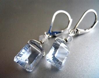 Emerald Cut Artic Blue Earrings, Emerald cut earrings, Pale blue earrings, lever back earrings, quartz earrings, moonstone earrings, gift